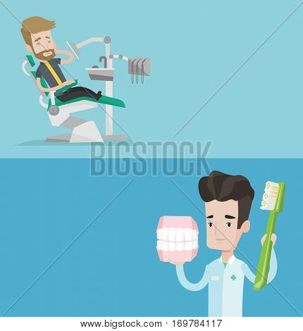 Two medical banners with space for text. Vector flat design. Horizontal layout. Sad hipster man suffering from tooth pain. Man having a toothache. Young dentist holding dental jaw model and toothbrush