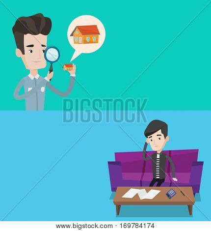 Two real estate banners with space for text. Vector flat design. Horizontal layout. Sad man calculating home bills. Man accounting costs and mortgage for paying home bills. Man analyzing home bills.