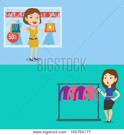 Two shopping banners with space for text. Vector flat design. Horizontal layout. Woman shocked by price tag in clothing store. Woman looking at price tag in clothing store. Woman staring at price tag.