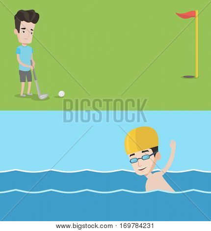 Two sport banners with space for text. Vector flat design. Horizontal layout. Golfer hitting the ball. Professional golfer on golf course. Young man playing golf. Young sportsman swimming in pool.