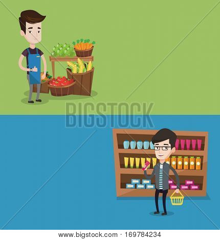 Two shopping banners with space for text. Vector flat design. Horizontal layout. Supermarket worker giving thumb up. Supermarket worker standing on the background of shelves with vegetables and fruits