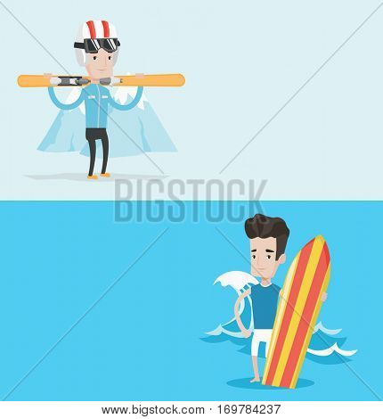 Two sport banners with space for text. Vector flat design. Horizontal layout. Man carrying skis. Man standing with skis on his shoulders on the background of snow capped mountain. Young man skiing.