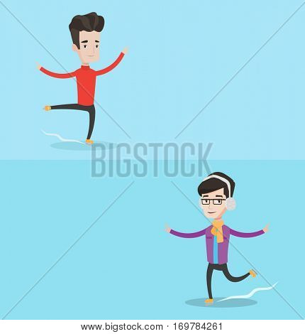 Two sport banners with space for text. Vector flat design. Horizontal layout. Professional male figure skater performing on ice skating rink. Young caucasian ice skater dancing. Happy man ice skating.