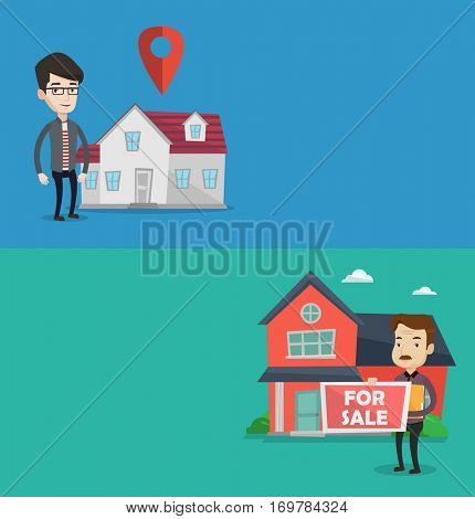 Two real estate banners with space for text. Vector flat design. Horizontal layout. Realtor offering the house. Realtor with placard for sale and documents in hands standing on the background of house
