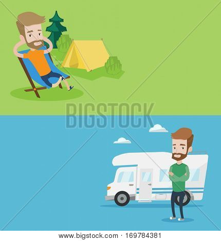 Two travel banners with space for text. Vector flat design. Horizontal layout. Hipster man sitting in a folding chair in the camp. Caucasian man relaxing in camp. Man enjoying his camping holiday.