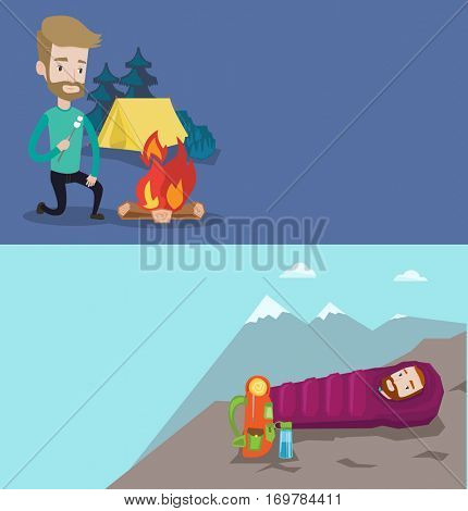 Two travel banners with space for text. Vector flat design. Horizontal layout. Hiking man sleeping in a sleeping bag while camping in the mountains. Caucasian man wrapped up in a mummy sleeping bag.