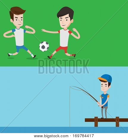Two sport banners with space for text. Vector flat design. Horizontal layout. Fisherman fishing on the lake. Man relaxing during fishing on jetty. Fisherman standing on jetty with fishing-rod in hands