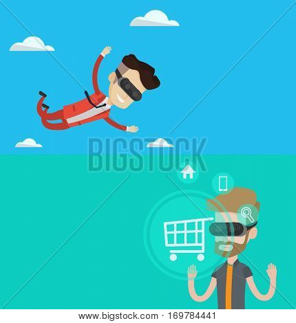 Two technology banners with space for text. Vector flat design. Horizontal layout. Businessman wearing virtual reality headset and flying in the sky. Caucasian businessman flying in virtual reality.
