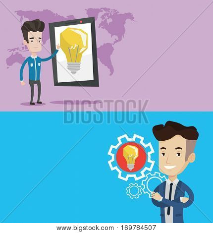 Two technology banners with space for text. Vector flat design. Horizontal layout. Businessman pointing at a big tablet computer. Businessman using tablet computer on the background of world map.
