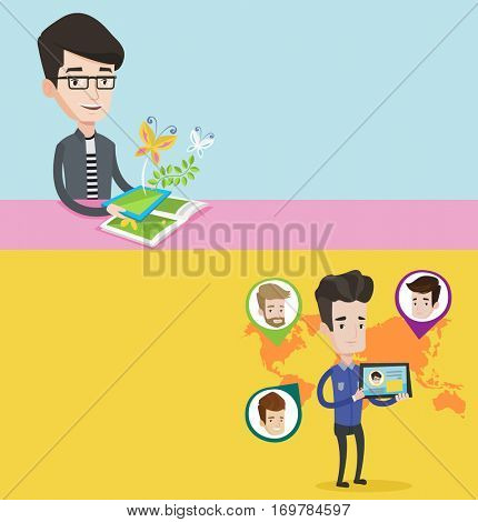 Two technology banners with space for text. Vector flat design. Horizontal layout. Man holding tablet computer with social network. Man standing on the background of world map with social network.