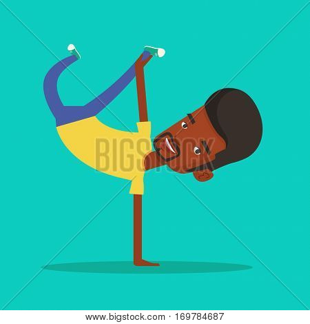 An african-american man showing his skills in break dance. Happy break dance dancer doing handstand. Young smiling man dancing. Strong man breakdancing. Vector flat design illustration. Square layout.