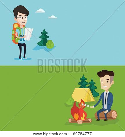 Two travel banners with space for text. Vector flat design. Horizontal layout. Businessman sitting on a log near campfire and roasting marshmallow over campfire on the background of camping site.