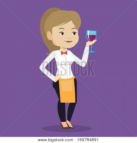 Young bartender holding a glass of wine in hand. Bartender at work. Waitress looking at glass of red wine. Smiling bartender examining wine in glass. Vector flat design illustration. Square layout.
