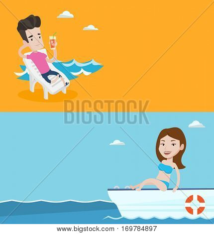 Two travel banners with space for text. Vector flat design. Horizontal layout. Young woman travelling by yacht. Smiling girl sitting on the front of yacht. Girl resting during summer trip on yacht.