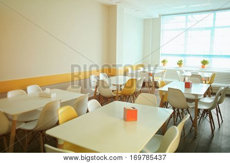 Cafeteria in modern school