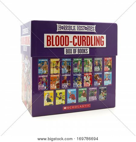 SWINDON UK - FEBRUARY 1 2017: Box set of Horrible Histories books box set on a white background