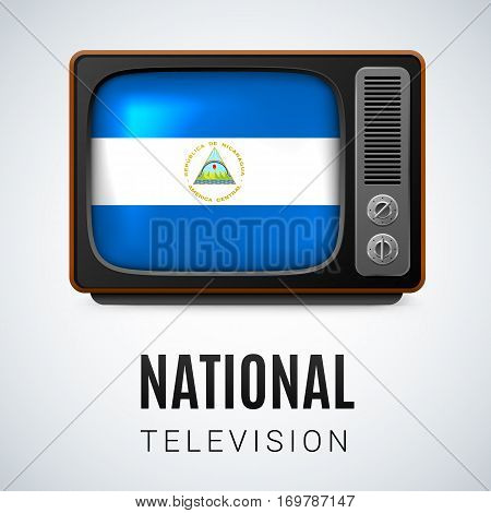 Vintage TV and Flag of Nicaragua as Symbol National Television. Tele Receiver with Nicaraguan flag
