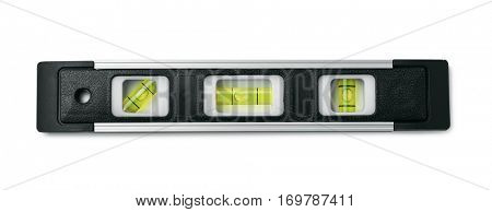 Top view of black spirit level isolated on white
