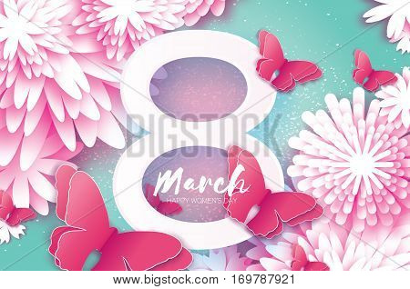 8 March. Happy Mother's Day. Paper cut Butterfly, Eight with Origami flower holiday background. Floral Greeting card. Square Frame, space for text. Women's Day. Lightning Ray. Vector illustration