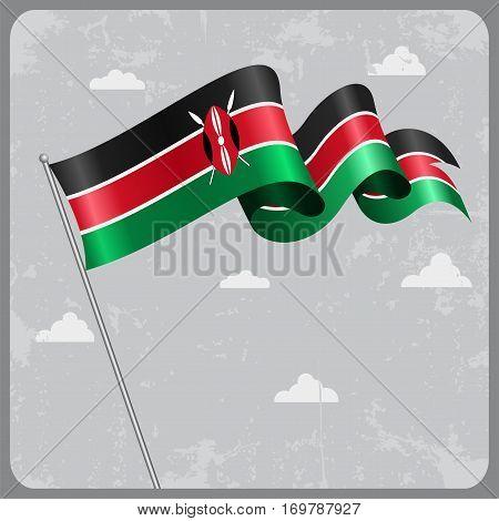 Kenyan flag wavy abstract background. Vector illustration.