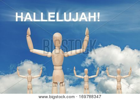 Wooden dummy puppet on sky background with word HALLELUJAH. Abstract conceptual image poster