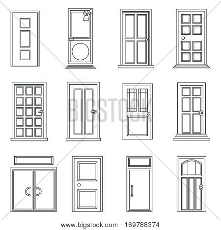 Lineart Old Doors Icon Set House Flat Design Isolated Vector Illustration