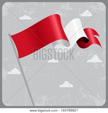 Peruvian flag wavy abstract background. Vector illustration.