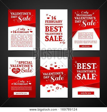 Set template design Happy valentine's day card. Collection price tag with red color tape and special valentine's sale text. Romantic banner and coupon with heart.