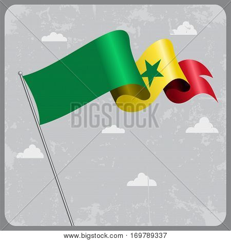 Senegalese flag wavy abstract background. Vector illustration.