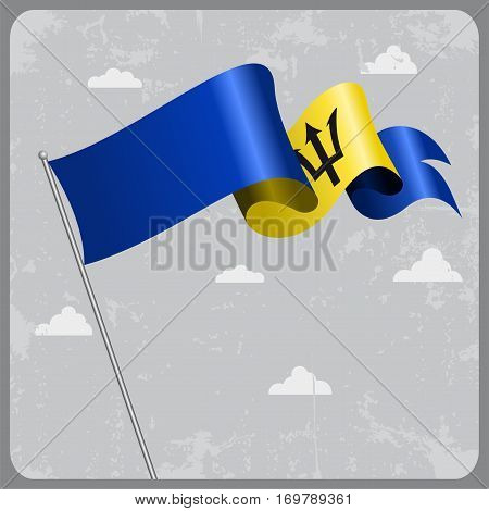 Barbados flag wavy abstract background. Vector illustration.