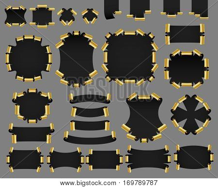 Set of golden realistic paper or satin banners. Ribbon with twirl. Vector illustration.