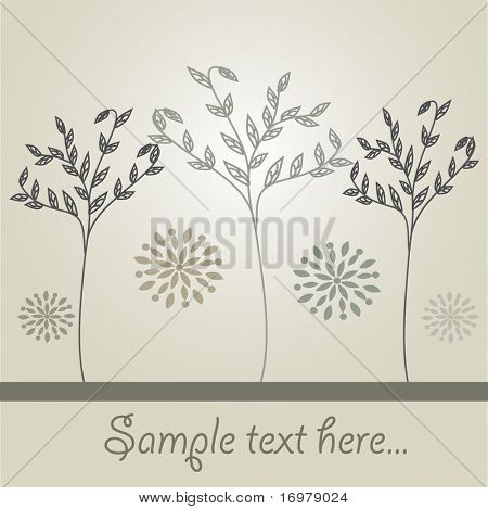 Abstract retro background with trees and flowers. Vector illustration