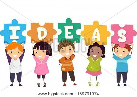 Stickman and Typography Illustration of Kids Holding Jigsaw Puzzle Pieces That Spell Ideas Above Their Heads