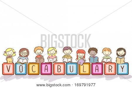 Stickman and Typography Illustration of Kids Playing with Blocks That Spell the Word Vocabulary