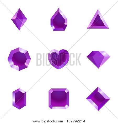 Set of different shapes gems. High quality purple gemstones, crystals, diamonds. Vector illustration on a white background.