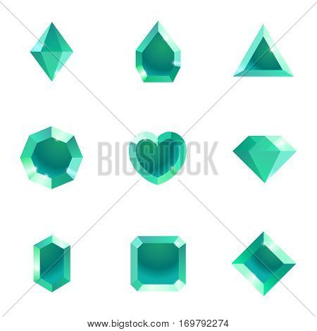 Set of different shapes gems. High quality blue gemstones, crystals, diamonds. Vector illustration on a white background.