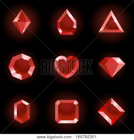 Set of different shapes gems. High quality red gemstones, crystals, diamonds. Vector illustration on a black background.