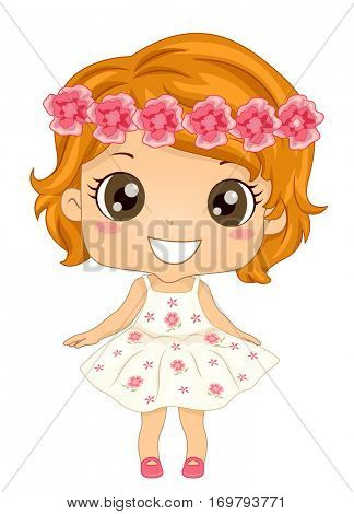 Illustration of a Little Girl with Big Round Eyes Wearing a Bouncy Dress and a Flower Crown