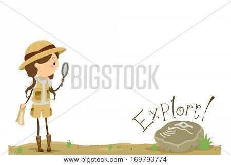 Stickman Illustration of a Little Girl Holding a Magnifying Glass Approaching a Fossilized Specimen