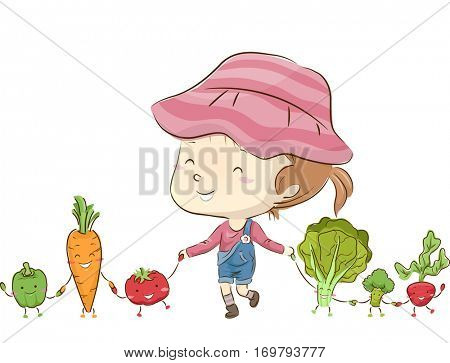 Whimsical Illustration of a Little Girl Playing with Anthropomorphic Vegetables