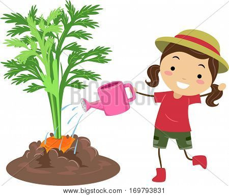 Illustration of a Little Girl in a Hat Happily Watering Her Growing Carrots