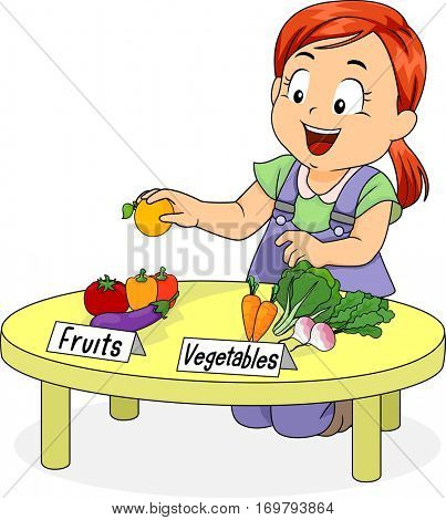 Illustration of a Little Girl Kneeling in Front of a Table Separating Fruits from Vegetables