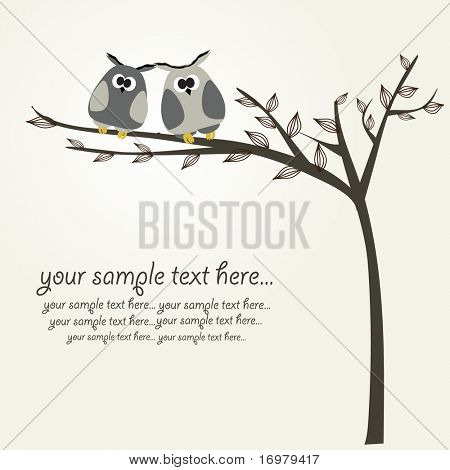 Owls couple for greeting card. Vector.