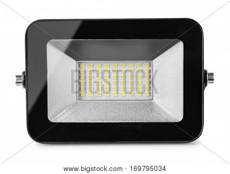 Front view of LED flood light isolated on white
