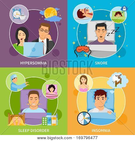 Four square sleeping disorder compositions with flat images representing different kinds of somnipathy with patient characters vector illustration