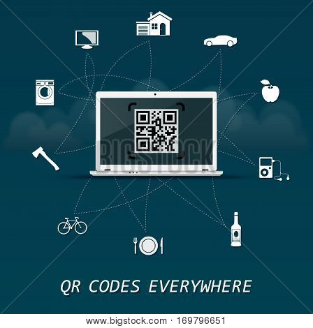 QR Codes everywhere - quick response codes business infographic template with laptop in the center