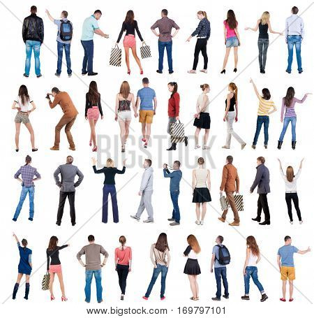 Collection Back view people . Rear view people set. backside view of person. Isolated over white background .
