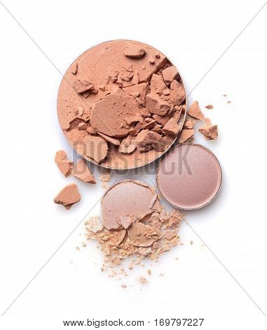 Round Crashed Beige Face Powder And Nude Color Eyeshadow For Makeup As Sample Of Cosmetics Product
