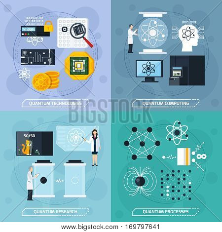 Quantum processes 2x2 design concept with elements of molecular structure modern technologies and scientific experiments flat vector Illustration