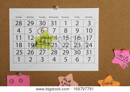 Calendar page with date reminder. Learn to drive concept